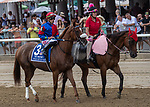 August 07, 2021: Swiss Skydiver #3, ridden by jockey Irad Ortiz Jr. in the post parade before the Grade 1 Whitney Stakes at Saratoga Race Course in Saratoga Springs, N.Y. on August 7, 2021.<br /> Robert Simmons/Eclipse Sportswire/CSM