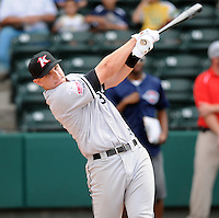 Infielder Ian Gac (33) of the Kannapolis Intimidators hits in the home run derby at the 2010 South Atlantic League All-Star Game on Tuesday, June 22, 2010, at Fluor Field at the West End in Greenville, S.C. Photo by: Tom Priddy/Four Seam Images