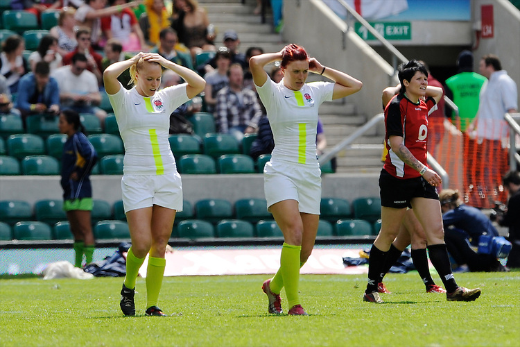 MichaelaStaniford (left) and JoanneWatmoreof England during the iRB Marriott London Sevens at Twickenham on Sunday 13th May 2012 (Photo by Rob Munro)