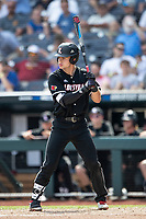 Louisville Cardinals shortstop Zach Britton (34) at bat during Game 3 of the NCAA College World Series against the Vanderbilt Commodores on June 16, 2019 at TD Ameritrade Park in Omaha, Nebraska. Vanderbilt defeated Louisville 3-1. (Andrew Woolley/Four Seam Images)