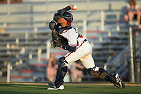 Danville Braves catcher William Contreras (24) makes a throw to second base against the Princeton Rays at American Legion Post 325 Field on June 25, 2017 in Danville, Virginia.  The Braves walked-off the Rays 7-6 in 11 innings.  (Brian Westerholt/Four Seam Images)