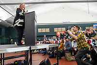 Jane O'Meara Sanders, wife of Democratic presidential candidate and Vermont senator Bernie Sanders, speaks at a campaign rally at Hampshire Hills Athletic Club in Milford, New Hampshire, on Tue., Feb. 4, 2020. The  event started around 7pm and was the first event Sanders held after the previous day's Iowa Caucuses. The results of the caucuses were unknown until the Democratic party released partial numbers at 5pm, showing Sanders and former South Bend, Ind., mayor Pete Buttigieg both as frontrunners.