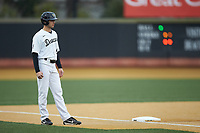 Michael Turconi (6) of the Wake Forest Demon Deacons takes his lead off of third base against the Sacred Heart Pioneers at David F. Couch Ballpark on February 15, 2019 in  Winston-Salem, North Carolina.  The Demon Deacons defeated the Pioneers 14-1. (Brian Westerholt/Four Seam Images)