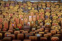 Ancestral Tablets in Siang Lin See (Xiang Lin Si) Mahayana Buddhist Temple, Melaka, Malaysia.