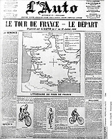 1903 Tour de France. L'Auto newspaper from the start of the first ever Tour de France.<br /> Credit: Offside / L'Equipe. <br /> <br /> carte officielle du tour de france 1903 COPYRIGHT WARNING : THIS IMAGE IS RIGHTS MANAGED AND THE COPYRIGHT MAY SIT WITH A THIRD PARTY PLEASE CONTACT simon@swpix.com BEFORE DOWNLOAD AND OR USE