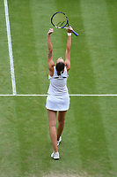 8th July 2021, Wimbledon, SW London, England; 2021 Wimbledon Championships, quarterfinals; Karolina Pliskova (Tch) celebrates her win to the semi-finals
