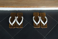 Geta sandals are provided for the guests at the Gora Kadan ryokan.