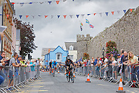 Pictured: Athletes on their bicycles on the South Parade, Tenby. Sunday 15 September 2019<br /> Re: Ironman triathlon event in Tenby, Wales, UK.