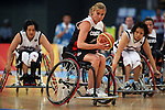 Misty Thomas (14) of Vancouver gets past the Japanese defence in women's wheelchair basketball action at the Paralympic Games in Beijing,Tuesday, Sept., 9, 2008.    Photo by Mike Ridewood/CPC