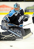 29 January 2010: University of Maine Black Bears' goaltender Scott Darling, a Sophomore from Lemont, IL, makes a second period save against the University of Vermont Catamounts at Gutterson Fieldhouse in Burlington, Vermont. The Black Bears defeated the Catamounts 6-3 in the first game of their America East weekend series. Mandatory Credit: Ed Wolfstein Photo
