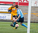 Forfar's Michael Bolochoweckyj blocks Calum Elliot's shot on the line.