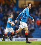 Makeshift striker Bilel Mohsni celebrates his equalising goal for Rangers