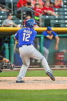 Danny Muno (12) of the Las Vegas 51s at bat against the Salt Lake Bees in Pacific Coast League action at Smith's Ballpark on June 25, 2015 in Salt Lake City, Utah.  Las Vegas defeated Salt Lake 20-8.  (Stephen Smith/Four Seam Images)