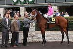 April 04, 2014: Sisterly Love and Stewart Elliott win the 7th race at Keeneland on opening day, Allowance $68,000 for fillies and mares four years old and up, giving Stewart Elliott his first win at Keeneland Racecourse.  Candice Chavez/ESW/CSM