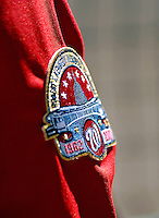 16 September 2007: The Washington Nationals commemorate baseball at RFK Stadium with a patch on their right-hand sleeves at Robert F. Kennedy Memorial Stadium in Washington, DC. The Braves shut out the Nationals 3-0 to take the third game of their 3-game series.. .Mandatory Photo Credit: Ed Wolfstein Photo