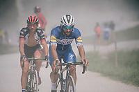 Fernando Gaviria (COL/Quick-Step Floors) over the gravel roads up the Montée du plateau des Glières (HC/1390m)<br /> <br /> Stage 10: Annecy > Le Grand-Bornand (159km)<br /> <br /> 105th Tour de France 2018<br /> ©kramon