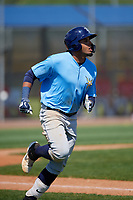 Tampa Bay Rays Diego Infante (98) runs to first base during a Minor League Spring Training game against the Boston Red Sox on March 25, 2019 at the Charlotte County Sports Complex in Port Charlotte, Florida.  (Mike Janes/Four Seam Images)