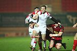 Ulster centre Darren Cave on the charge..Celtic League.Scarlets v Ulster.Parc y Scarlets.02.12.12..©Steve Pope