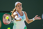 March 8, 2019: Stephanie Vogele (SUI) hits a forehand during her match where she defeated Sloane Stephens (USA) 6-3, 6-0 at the BNP Paribas Open at the Indian Wells Tennis Garden in Indian Wells, California. ©Mal Taam/TennisClix/CSM