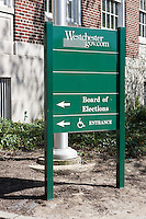 Sign for the Westchester County Board of Elections at 143 Grand Street in White Plains, New York