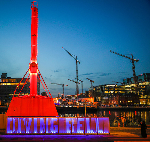 Dublin's Diving Bell is illuminated in blue to raise awareness of world drowning prevention day