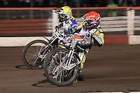 Heat 9: Chris Harris (red) and Chris Holder (yellow) - Lee Richardson Memorial Speedway Meeting at Arena Essex Raceway, Purfleet - 28/09/12 - MANDATORY CREDIT: Gavin Ellis/TGSPHOTO - Self billing applies where appropriate - 0845 094 6026 - contact@tgsphoto.co.uk - NO UNPAID USE.