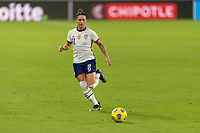 ORLANDO, FL - JANUARY 22: Ali Krieger #11 runs down a ball during a game between Colombia and USWNT at Exploria stadium on January 22, 2021 in Orlando, Florida.