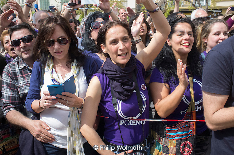 Podemos rally in Malaga a week before Andalusian parliamentary elections in which the grassroots party is hoping to make significant gains.