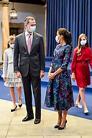OVIEDO, SPAIN - OCTOBER 16: King Felipe VI of Spain, Queen Letizia of Spain attend an audience to congratulate the winners at the Reconquista Hotel during the 'Princesa De Asturias' Awards 2020 on October 16, 2020 in Oviedo, Spain. <br /> CAP/MPI/RJO<br /> ©RJO/MPI/Capital Pictures