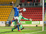 St Johnstone v Aberdeen...23.01.15   SPFL<br /> Lee Croft is denied by Scott Brown<br /> Picture by Graeme Hart.<br /> Copyright Perthshire Picture Agency<br /> Tel: 01738 623350  Mobile: 07990 594431