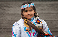 Cute Muckleshoot Native American Girl, Auburn, Washington, USA.
