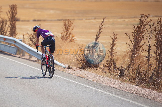 Pelayo Sanchez (ESP) Burgos-BH from the breakaway rejoins the peloton during Stage 5 of La Vuelta d'Espana 2021, running 184.4km from Tarancón to Albacete, Spain. 18th August 2021.    <br /> Picture: Luis Angel Gomez/Photogomezsport | Cyclefile<br /> <br /> All photos usage must carry mandatory copyright credit (© Cyclefile | Luis Angel Gomez/Photogomezsport)