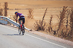 Pelayo Sanchez (ESP) Burgos-BH from the breakaway rejoins the peloton during Stage 5 of La Vuelta d'Espana 2021, running 184.4km from Tarancón to Albacete, Spain. 18th August 2021.    <br /> Picture: Luis Angel Gomez/Photogomezsport   Cyclefile<br /> <br /> All photos usage must carry mandatory copyright credit (© Cyclefile   Luis Angel Gomez/Photogomezsport)