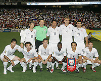 USA starting eleven during a CONCACAF Gold Cup match against Honduras at RFK Stadium on July 8 2009 in Washington D.C. USA won the match 2-0.