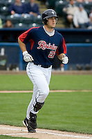 June 1, 2008: Tacoma Rainiers' Jeff Clement trots down to first baseball after working a walk during a Pacific Coast League game against the Salt Lake Bees at Cheney Stadium in Tacoma, Washington.
