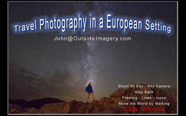 These European photos are an introduction to John Kieffer's 30 years as a professional photographer, teacher and writer based in Boulder, Colorado, USA. <br /> John is looking for work in Europe in tourism, the photography industry and education. John will be in Europe June through September 2018.<br /> John@OutsideImagery.com   +1 720-244-7940