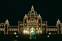 Victoria, BC, Vancouver Island, British Columbia, Canada - BC Parliament Buildings illuminated at Night