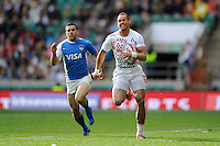 Dan Norton of England runs in a try during the iRB Marriott London Sevens at Twickenham on Saturday 11th May 2013 (Photo by Rob Munro)