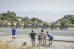 The breakaway passes by during Stage 10 of La Vuelta d'Espana 2021, running 189km from Roquetas de Mar to Rincón de la Victoria, Spain. 24th August 2021.     <br /> Picture: Charly Lopez/Unipublic   Cyclefile<br /> <br /> All photos usage must carry mandatory copyright credit (© Cyclefile   Unipublic/Charly Lopez)