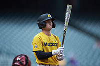 Clayton Peterson (10) of the Missouri Tigers at bat against the Oklahoma Sooners in game four of the 2020 Shriners Hospitals for Children College Classic at Minute Maid Park on February 29, 2020 in Houston, Texas. The Tigers defeated the Sooners 8-7. (Brian Westerholt/Four Seam Images)