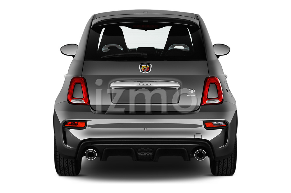 Straight rear view of a 2018 Abarth 595 Turismo 3 Door Hatchback stock images