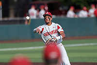 Arkansas Razorbacks shortstop Jalen Battles (4) on defense against the Tennessee Volunteers on May 14, 2021, on Robert M. Lindsay Field at Lindsey Nelson Stadium in Knoxville, Tennessee. (Danny Parker/Four Seam Images)