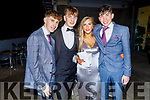 Eamon O'Connor, Paul Browne, Siadbh Prenderville and Oisin Nolan attending the Gaelcoláiste Chiarraí Debs in the Ballyroe Heights Hotel on Thursday night