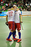 GER - Muelheim an der Ruhr, Germany, February 04: During the FinalFour semi-final men hockey match between Club an der Alster (red) and Mannheimer HC (white) on February 4, 2017 at innogy Sporthalle in Muelheim an der Ruhr, Germany. (Photo by Dirk Markgraf / www.265-images.com) *** Local caption *** Danny Nguyen #22 of Mannheimer HC Paul Zmyslony #13 of Mannheimer HC