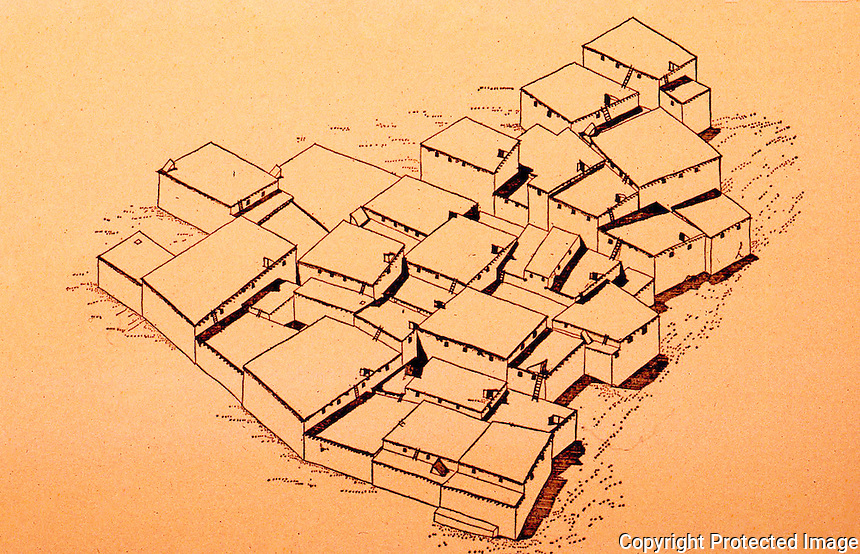World Civilization:  Catal Huyuk--Schematic Reconstruction of a section of Level VI.  ( Circa 5950-5880 B.C. )  James Mellaart, CATAL HUYUK, A NEOLITHIC TOWN IN ANATOLIA, 1967.