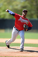 Atlanta Braves pitcher Mauricio Cabrera (65) during a minor league spring training game against the Washington Nationals on March 26, 2014 at Wide World of Sports in Orlando, Florida.  (Mike Janes/Four Seam Images)
