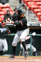 May 9, 2009:  Right Fielder Oscar Salazar of the Norfolk Tides, International League Class-AAA affiliate of the Baltimore Orioles, at bat during a game at Coca-Cola Field in Buffalo, FL.  Photo by:  Mike Janes/Four Seam Images