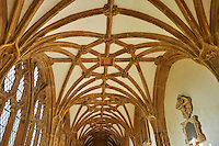 Cooridor of the the medieval Wells Cathedral built in the Early English Gothic style in 1175, Wells Somerset, England