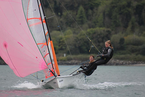 Zoe Whitford and Kelly Patterson racing their 29er skiff at Larne