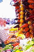 On a street market. Peppers. Barcelona, Catalonia, Spain.